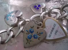 Antique French Silver Enamel Heart Ne M'oubliez Pas Slide Do Not Forget Me Charm