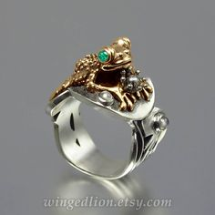 BEFORE THE KISS the Frog Prince ring in silver and by WingedLion, $755.00