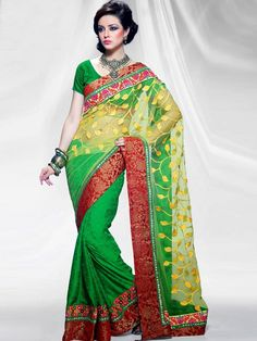 This is a #latest #designer saree by kalazone. The #green color net designer Indian #saree gives you young forever look. It has heavy velvet border and bead work all over it. The contrasting multi colored embroidery gives it a classy look. The saree has delicately #embroidery work on the pallu. A perfect ensemble for #weddings and #parties. The #saree is offered at an amazing price of Rs. 5335/- (Slight variation in color is possible)
