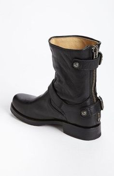 Frye Veronica short black boot with zipper detail