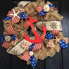 Summer deco mesh wreath,burlap nautical wreath, beach wreath,front door beach wreath, nautical wreath, anchor wreath, patriotic wreath by ShellysChicDesigns on Etsy https://www.etsy.com/listing/224738052/summer-deco-mesh-wreathburlap-nautical