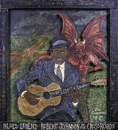 Robert Painting - Robert Johnson At The Crossroads by Eric Cunningham Rhythm And Blues, Blues Music, William Christopher, The Crossroads, Robert Johnson, Blue Poster, Jazz Musicians, Blue Life, Blue Art