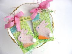 Happy Easter Lavender Bunny LUXE Gift Tags Set of by pearliebird