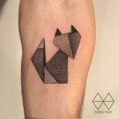 Origami fox Done at @austattooexpo  #origami #origamitattoo #foxtattoo #종이접기 #여우타투