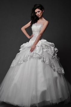 Ball Gown Floor Length Tulle Overlay Taffeta Wedding Dress with Beading