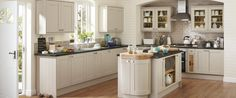 Tewkesbury Stone kitchen has a painted solid timber frame door with veneered centre panel. Create a contemporary or classic look with this kitchen style Grey Kitchen Island, Stone Kitchen, New Kitchen, Kitchen Interior, Kitchen Decor, Kitchen Island Howdens, Kitchen Dining, Cheap Kitchen, Kitchen Tile