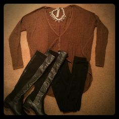 Free People Hi-Low Sweater Lightweight sweater for layering. Oversized batwing styling for layering. Open knit pattern. Great with leggings. Brown almost duffle bag olive in color. Free People Sweaters