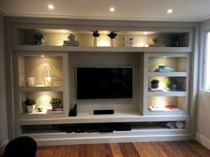 45 built in bench for your basement design ideas 42 Living Room Built Ins, Living Room Wall Units, Living Room Tv Unit Designs, Home Living Room, Living Room Decor, Tv Wall Unit Designs, Modern Tv Wall Units, Living Room Entertainment Center, Entertainment Center Wall Unit