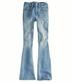Stonewashed and ripped bell bottom jeans