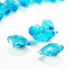 free ship 10pcs 12mm blue faceted crystal teardrop Beads by zacoo, $2.49