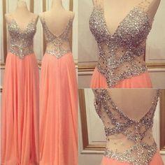 Pink prom Dress,Charming Prom Dresses,V neck prom Dress,see through prom dress,Evening dress,BD064