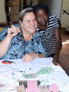 Beading workshop hosted by Chobe Safari Lodge -- Making beads out of newspaper