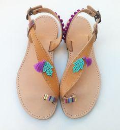 Boho sandals, pom pom sandals, leather sandals,boho chic,sandals,  Colorful Sandals
