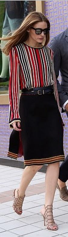 Who made Olivia Palermo's red stripe top, black sunglasses, blue skirt, and nude sandals?
