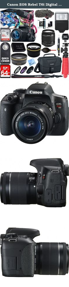 Canon EOS Rebel T6i Digital SLR Camera Video Creator Kit 18-55mm Zoom Lens, Rode Video Mic, 32GB + 64GB SDXC Memory Bundle + Pro Wide Angle Lens + 2x Telephoto Lens Converter +Extra Battery+DSLR Bag. <p>For gorgeous, high-quality photos and videos that are easy to share, look to the Canon EOS Rebel T6i camera. The EOS Rebel T6i does more, easier, making capturing photos and shooting videos a breeze. Its high-resolution 24.2 Megapixel CMOS (APS-C) sensor means finely detailed, crisp and...