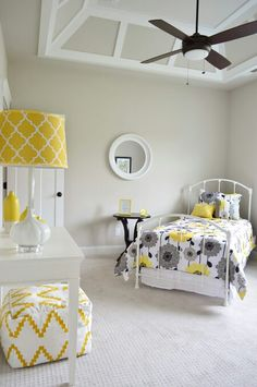 Young House Love - One young family + one old house = love. I like the ceiling Yellow Gray Bedroom, Grey Bedroom With Pop Of Color, Grey Room, Yellow Bedrooms, Tiny Bedrooms, Gray Yellow, Young House Love, My New Room, Home Interior Design