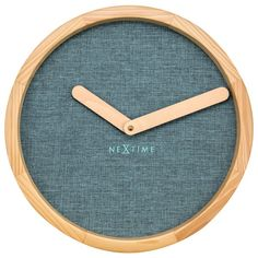 Nextime Calm Clock - Turquoise - blue wood and fabric wall clock