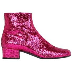 SAINT LAURENT 40mm Babies Glittered Leather Ankle Boot - Fuchsia