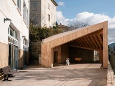orma architettura completes glulam playground shelter in corsica Construction Process, New Construction, Timber Structure, Building A Pool, Corsica, Architecture, Canopy, Playground, Shelter