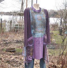 Upcycled Tunic or Dress, Upcycled Clothing, Romantic Clothing, Long Tunic, Size Large. $75.00, via Etsy.