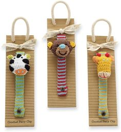Safari Crochet Pacifier Clips by Mud Pie