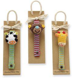 Safari Crochet Pacifier Clips by Mud Pie