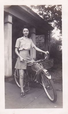 Image detail for -1940s Young woman rides vintage bicycle by TobyCreek on Etsy