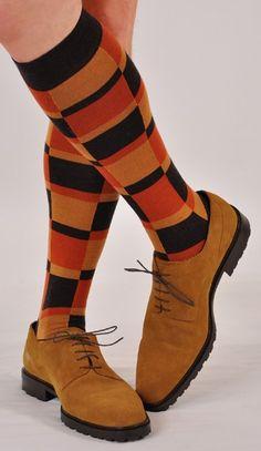 Marcoliani Milano Men's Luxury Socks Made in Italy - Coffee Brown Over The Calf Halloween Socks