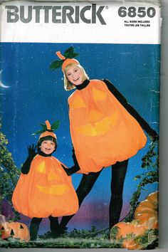 Mom and Child Matching Pumpkin Halloween Costume Sewing Pattern Butterick 6850  by PeoplePackages on Etsy
