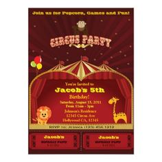 A Circus Party Birthday Invitations - eatlovepray