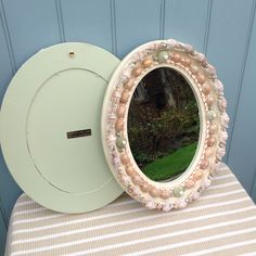 Commissioned pair of shelled mirrors Shell Mirrors, Shelled, Stuffed Shells, Interior Accessories, Sea Shells, Frames, Design, Home Decor, Conch Shells