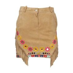 Pre-owned John Galliano Embroidered Fringe Skirt ($850) ❤ liked on Polyvore featuring skirts, mini skirts, brown fringe skirt, embroidered skirt, vintage mini skirt, suede fringe skirt and short skirts