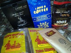 Indonesia Coffee. KOPI = Coffee Arabica Gayo, Robusta Aceh, Robusta Bengkulu, Robusta Java Mocha, Arabica Toraja, Robusta Toraja