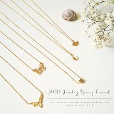 very delicate little charm necklaces. handmade by JUNA Jewelry