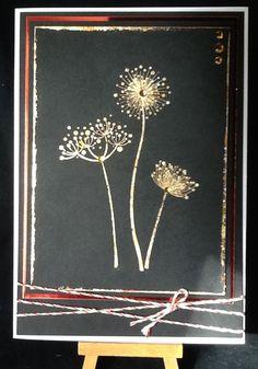 IndigoBlu Black card, Stylised Flowers stamp, FlitterGlu and Autumn Blaze Flakes...