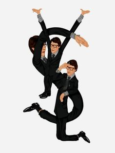 Quirky Yves Saint Laurent Logo illustration  by artist Mike Frederiqo