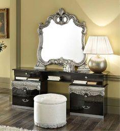 Barocco Modern Glossy Black Vanity Dresser - now that's interesting Bedroom Vanity Set, Vanity Table Set, Vanity Set With Lights, Italian Bedroom Sets, King Size Bedroom Sets, Wood Bedroom Furniture, Furniture Redo, Vintage Furniture, Painted Furniture