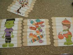 FlipChick Designs: Popsicle Stick Puzzles Tutorial - we could make D&D images?