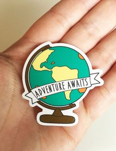 Adventure Awaits Sticker - World Globe Travel Map Vinyl Stickers Tumblr Stickers, Cool Stickers, Laptop Stickers, Free Printable Planner Stickers, Travel Sticker, World Map Sticker, World Globes, Aesthetic Stickers, Pin And Patches