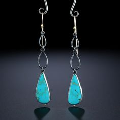 Metalsmiths Amy Buettner & Tucker Glasow. Royston Turquoise Earrings. Fabricated Sterling Silver and 14k. www.amybuettner.com