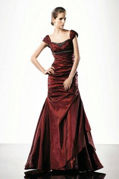 Cap Sleeves Square Handmade Beading Ruching Empire Designer Burgandy Evening Dress 2012