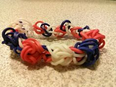 Rainbow Loom Tulip In White Red and Navy Bracelet by AbbiesHobbies, $2.30 https://www.etsy.com/listing/167215342/rainbow-loom-tulip-in-white-red-and-navy