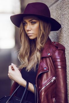 Burgundy Leather Jacket Street Style By Lisa Olsson #fashion #leather #hats