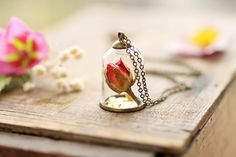 The Rose & the Bell Jar  red rose bud pendant by RubyRobinBoutique, €40.00
