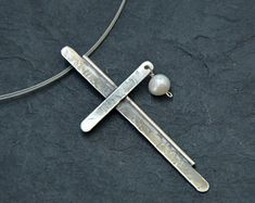 Handcrafted Jewellery by NtepiJewellery on Etsy Sterling Silver Cross, Oxidized Sterling Silver, Roman Jewelry, Garnet Jewelry, Birthday Gifts For Women, Pearl Pendant, Pendant Necklace, Black Rings, Bracelets For Men