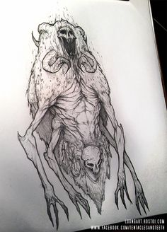 Gnoph Keh by TentaclesandTeeth on DeviantArt Cool Sketches, Drawing Sketches, Drawings, Fate Tattoo, Occult Art, Illustrator Tutorials, Death Metal, Tentacle, Creature Design