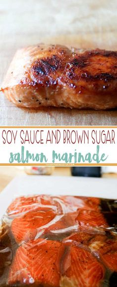 Soy Sauce and Brown Sugar Marinade This marinated Salmon baked in a foil packet for 15 min stayed tender, and caramelized beautifully on the bottom. Makes an easy, elegant meal. Salmon Dishes, Seafood Dishes, Seafood Recipes, New Recipes, Cooking Recipes, Healthy Recipes, Seafood Bbq, Baked Salmon Recipes, Recipes Dinner