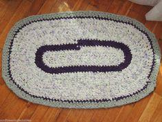 "Hand Made Crochet Rag Rug ~NEW 40""X25"" Sea Mist & Lilac Floral Oval Rag Rug **** #ragrugovalsage"