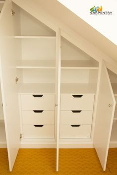 Contemporary MDF sloping wardrobe fitted in the loft spare room. Another sample of fitted furniture created by our compa… – attic Attic Wardrobe, Attic Closet, Attic Playroom, Attic Office, Attic House, The Loft, Loft Storage, Bedroom Storage, Eaves Storage