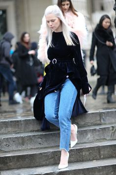 How to Pull Off the Tricky Dress-Over-Jeans Trend